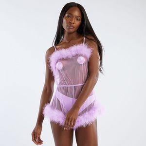 Savage X Fenty Purple Fairy Dust Marabou Romper